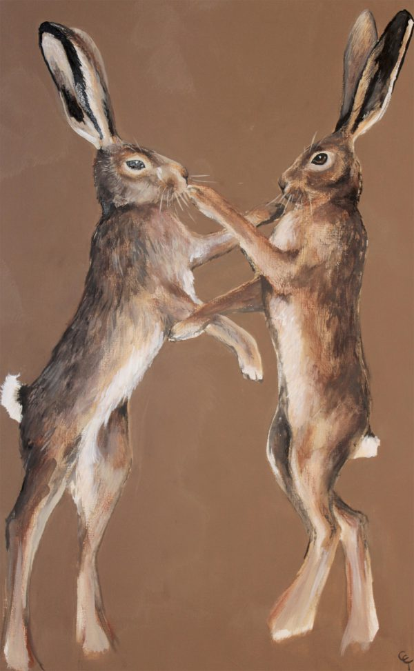 Brown Boxing Hares print