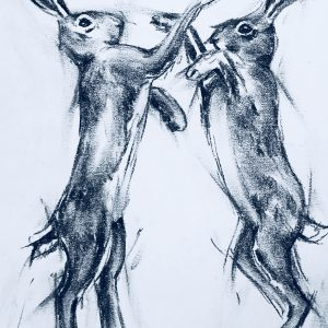 Charcoal Boxing Hares print