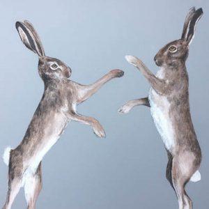 Grey Boxing Hares print