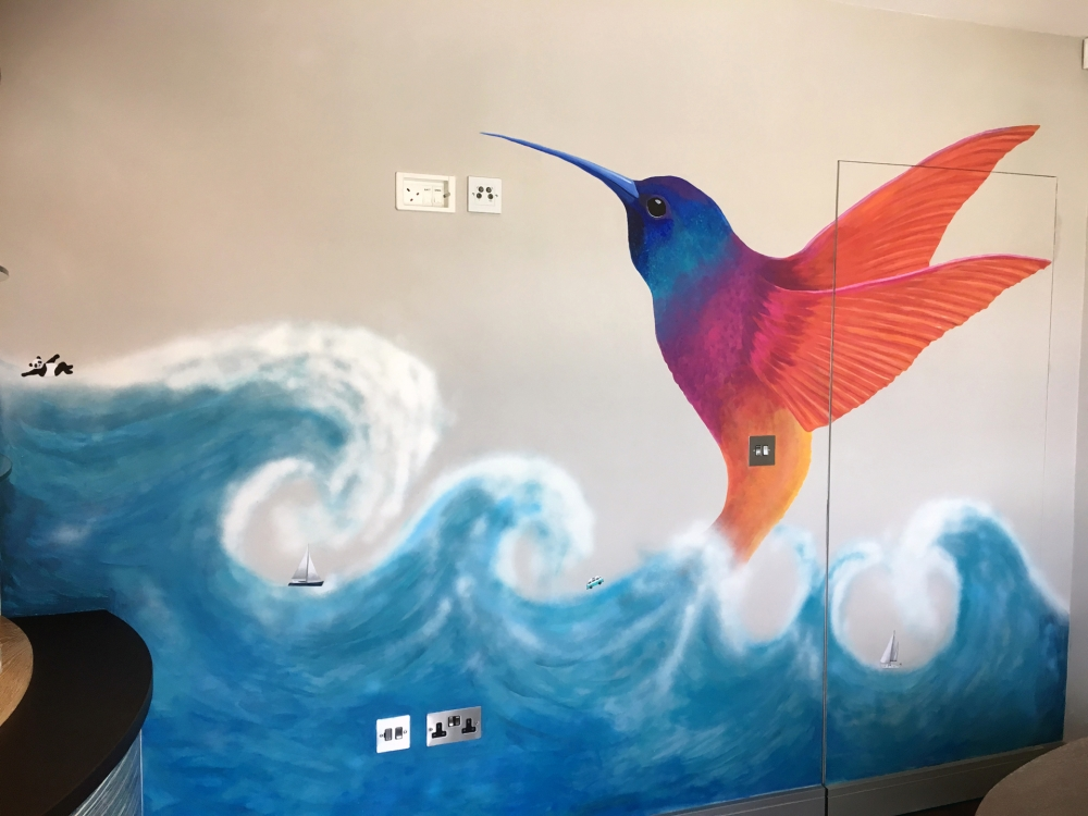 Painted wall mural commission hummingbird