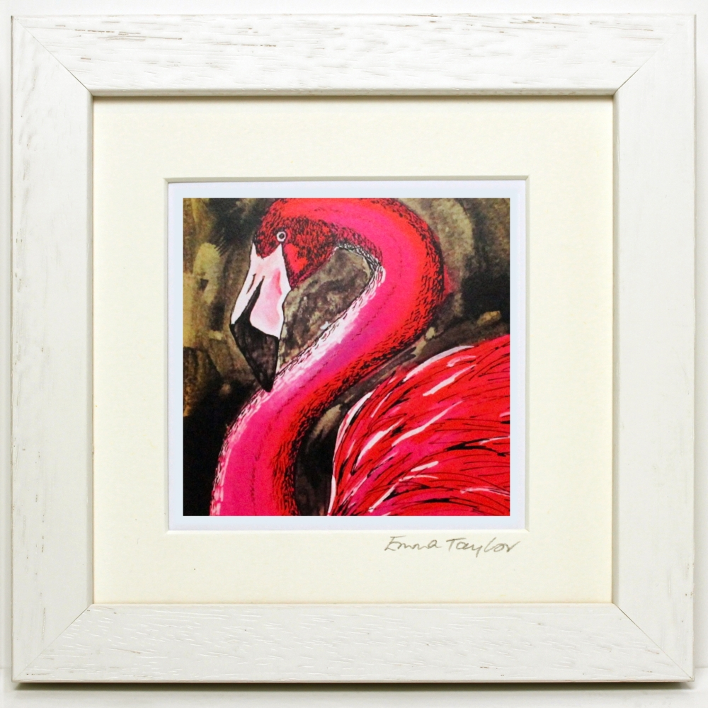 White frame flamingo
