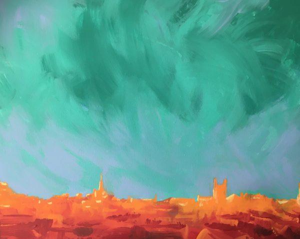 Bath Bright Skyline print
